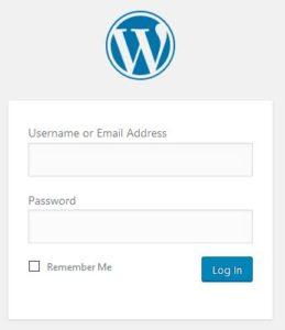wordpress login box screenshot